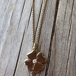 Juicy Couture Crystal Gold Metal Clover Necklace!
